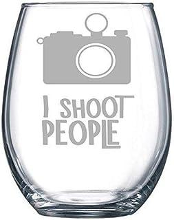 C M I Shoot People Stemless Wine Glass, 15 oz.