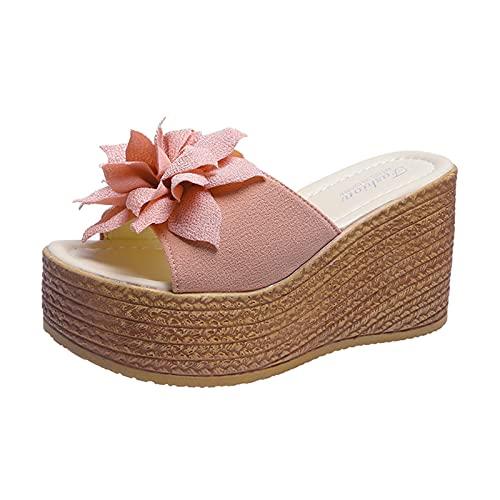 pantofole sandali in corda donna ciabatte donna casa estive infradito zeppa sandali donna bianchi con tacco ciabatte sughero donna estive (O41-Pink,39)