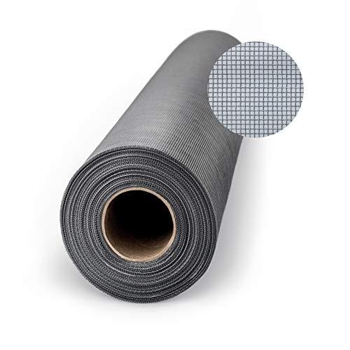 Teso - Mosquitera (protección contra mosquitos, fibra de vidrio transparente, resistente a los rayos UV, por metros, 200 cm), color gris