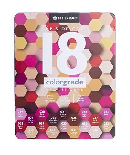 Lápis De Cor Profissional 18 Cores Com Estojo De Metal - Colorgrade C Triangular Madeira
