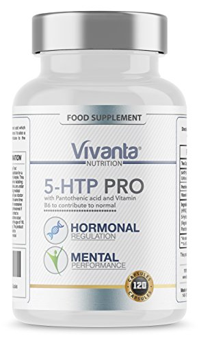 Vivanta, 5-HTP Pro - 200mg x 120 Vegetarian Capsules - 5HTP with Pantothenic Acid which Supports Normal Mental Performance - Made in the UK