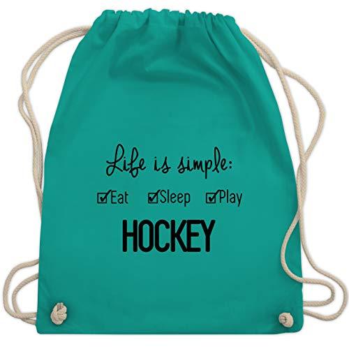 Shirtracer Eishockey - Life is simple Hockey - Unisize - Türkis - eishockey mädchen - WM110 - Turnbeutel und Stoffbeutel aus Baumwolle