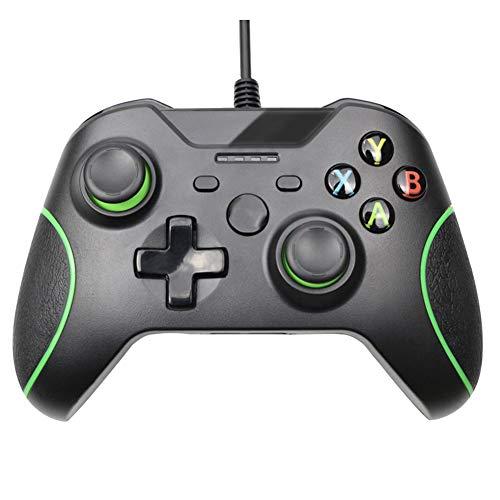 HNQH Controle com fio para Xbox One, joystick de jogo com vibração dupla com porta de fone de ouvido de 3,5 mm para PC Windows 7/8/10 Xbox One