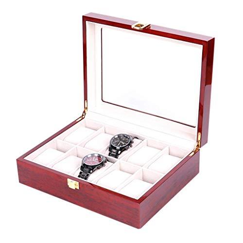 GFDFD Caja de Almacenamiento: Caja de Reloj, Caja de Reloj de 10 Ranuras, Caja de Organizador de Reloj, Regalos de cumpleaños for Padres, Regalos for Madres y Hombres, for Hombres y Mujeres