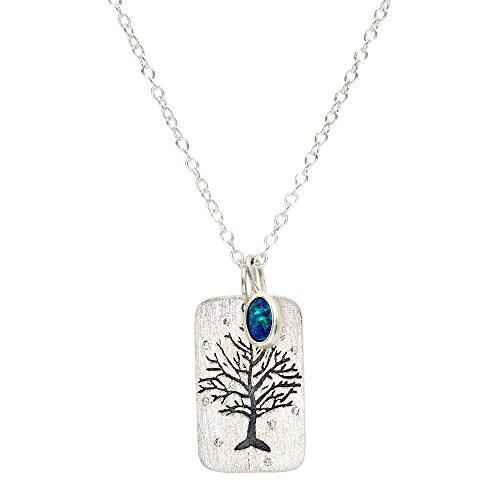Luna Azure - Collar con colgante de ópalo australiano y plata de ley 925 con circonita grabada en forma de árbol de la vida, 18 pulgadas, hecho a mano, joyería única para mujeres y madres