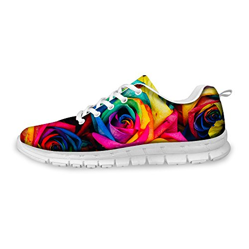 FOR U DESIGNS Stylish Floral Print Women's Light Weight Fashion Sneaker Mesh Flex Trail Running Shoes US 8