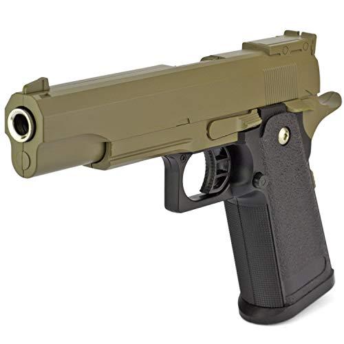 Softair Gun Airsoft Pistole + Munition | MBX-G6-BI. Profi Vollmetall | 22cm. Inkl. Magazin & 0,5 Joule