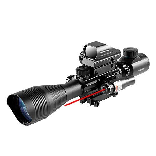 4-12X50 EG Tactical Rifle Scope Dual Illuminated Optics & Rangefinder Illuminated Reflex Sight 4 Holographic Reticle Red/Green Dot Sight & IIIA/2MW Laser Sight(Red)