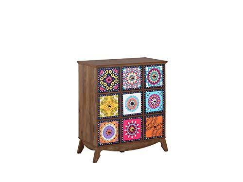 Beliani Kommode Dunkles Holzfarbton/bunt marokkanisch mit Schubladen Kuma