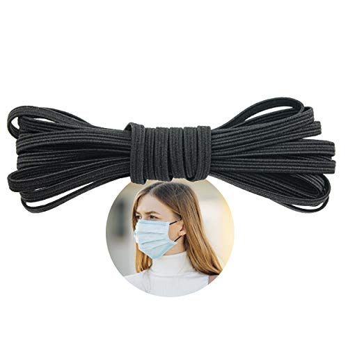 Elastic Band for Sewing - 1/8' (3.5mm) Heavy Stretch Flat Bungee - Arts and Crafts, DIY Face Masks - Knit Braided Cord - Stretchy String for Earloop - 10 Yards (Black), by Adolfo Designs