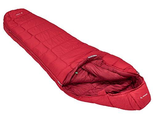 Vaude Sioux 800 SYN, Saco de Dormir con cremallera a la izquierda, color rojo (dark indian red), tamaño 220 x 80 x 55 cm
