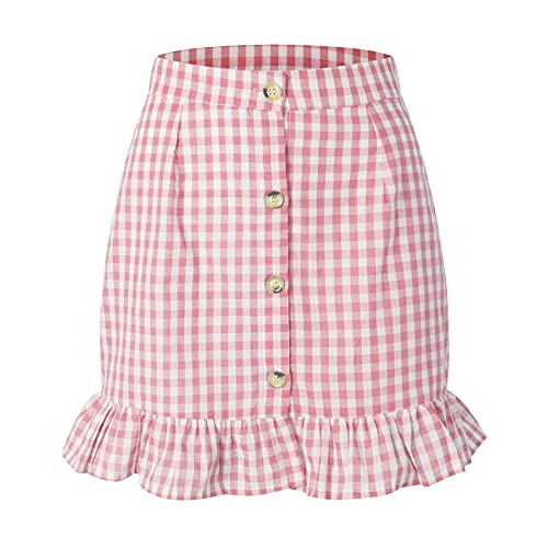 WZXHNYYZYQ Summer Women's Plaid Ruffle Short Skirt High Waist Single-Breasted Plaid Skirt Pink