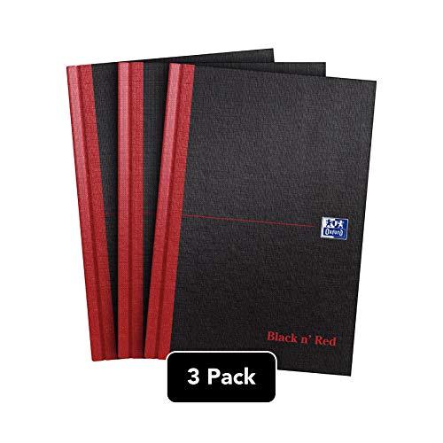 Oxford Black n\' Red Notizbuch, A4, fester Einband, Hardcover 3er-Pack A5