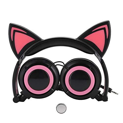 Cat ear-koptelefoon, opvouwbare cat ear-koptelefoon met LED-lampje + micro-USB voor pc / mobiele telefoon / laptop, Adopte PU-leren koptelefoon (zwart en rood)