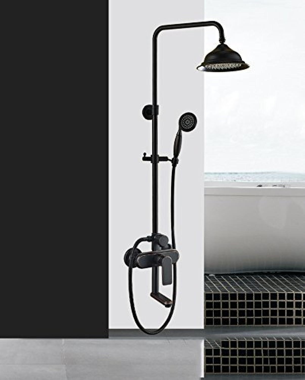 All Copper Shower Shower Retro Bathroom Black Suit of Bath Shower Bath Tub Faucet Hot Hot,Circular