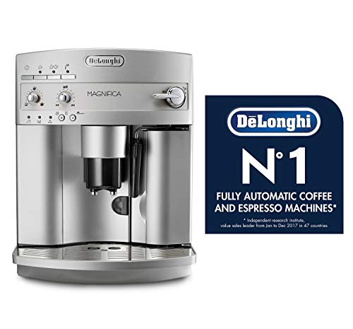 The DeLonghi Magnifica with two cups of coffee