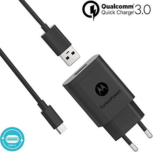 Motorola Original- TurboPower 18 Wandladegerät mit SKN6473A 3,3ft (1m) USB-A auf USB-C Kabel im Verkaufsfach mit Motorola Authentication Label und Bedienungsanleitung