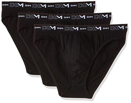 DIM Coton Stretch Slip x3, Negro, L (talla del fabricante: 4) (Pack de 3) para Hombre