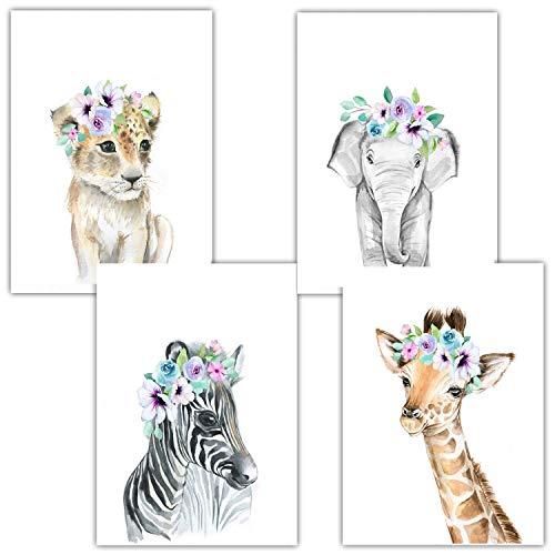 Ciujoy 4er Set Bilder Babyzimmer Deko Junge Mädchen - DIN A4 Poster Kinderzimmer Baby Dschungel Tiere - Wandbilder-Safari Afrika - Giraffe Zebra