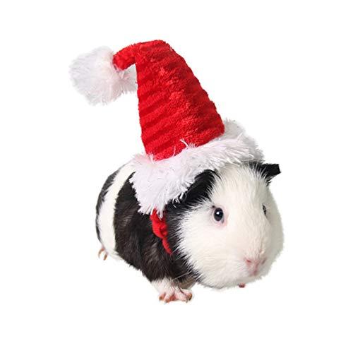 Fantasia de porco da Guiné POPETPOP – Chapéu de gato Papai Noel com chapéu de natal e cabeça de Papai Noel acessório para coelho Hamster Guiné Porco gatinho e pequenos animais