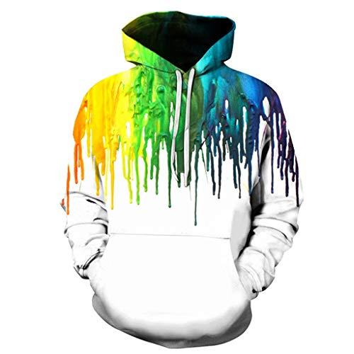 Realde Herren Langarm Hoodie Sweatshirts Kapuzenshirt Mit Taschen Männer 3D Graffiti Drucken Pullover in Vielen Farben Kapuzenpullover für Fitness Freizeit | Weiß Schwarz| Oberteile