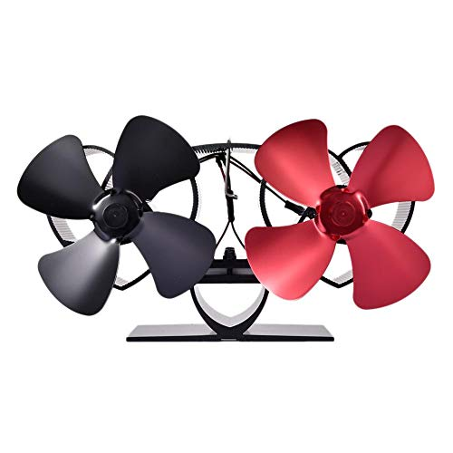 flower205 Kaminventilator Wärmebetriebener Doppelmotor-Ofenventilator Holzofenventilator 8 Schaufel Mehr Warmluft Für Gaspellet-Kaminöfen