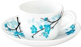 Larah by Borosil Opalware Glass Cup and Saucer Set, 12 Pcs Set (Mimosa)