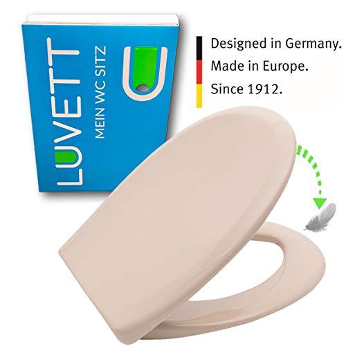 LUVETT WC-Sitz C770 oval mit Absenkautomatik SoftClose® & TakeOff® EasyClean Abnahme, Duroplast Toilettendeckel, Farbe:Bahama Beige