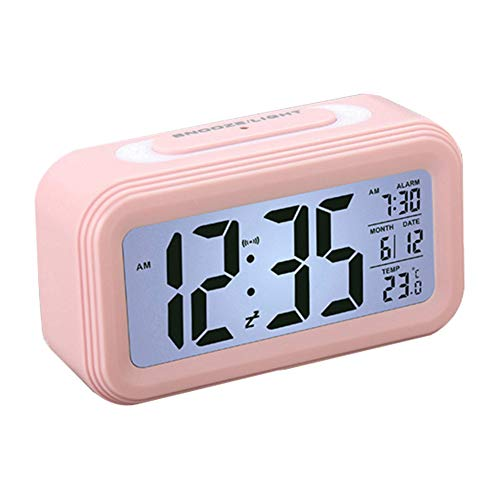 Starnearby Digitale wekker, led-kinderwekker met datumtemperatuurweergave, batterij, digitale wekker met sluimer- en nachtlichtfunctie roze