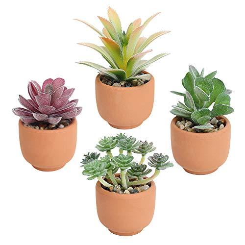 Cotemdery Lot de 4 plantes succulentes artificielles réalistes mignonnes en pot pour décoration de maison ou de bureau dans des pots en terre cuite