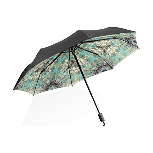 Regenschirm 3 Falten anpassen Floral Trippy Anti-UV Windproof Lightweight