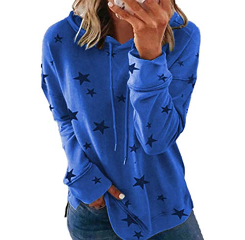YXZFZ Womens Hooded Sweatshirt Girls Long Sleeve Pullover Tunic Top Plain Soft Cotton Vintage Home Stitch Button Up Blouses Beach Thick Cool Hipster Shirt Female Kangaroo Pouch Pocket Blue L