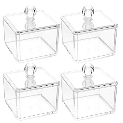 4 cajas de joyería transparentes para el baño, organizador de maquillaje, bastoncillos de algodón, dispensador de hisopos de algodón