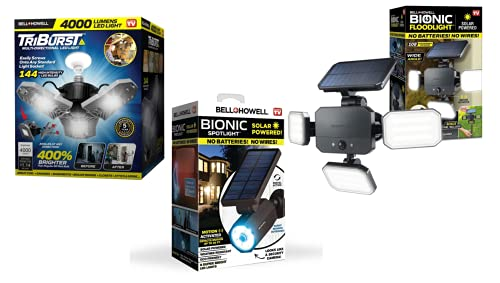 Bell+Howell Indoor and Outdoor Lights Bundle, Triburst Plus Solar Bionic Floodlight and Motion Sensored Security Spotlight, Super Bright LED Bulbs, Adjustable Panels, Waterproof Wireless As Seen On TV