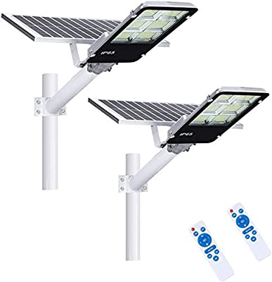40000mah 2 Pack LED Solar Street Lights 360W with Remote Control Dusk to Dawn Flood Light, Waterproof, Ideal for Parking Lot, Stadium, Yard, Garage and Garden