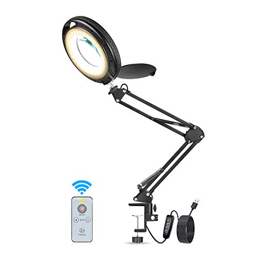 Lámpara de Aumento Toolour Lámpara de Escritorio Lupa con Luz Lupa con Pantalla Negra Lente de Lupa con 3 Configuraciones de Luz Ajustables y 10 Niveles de Atenuación