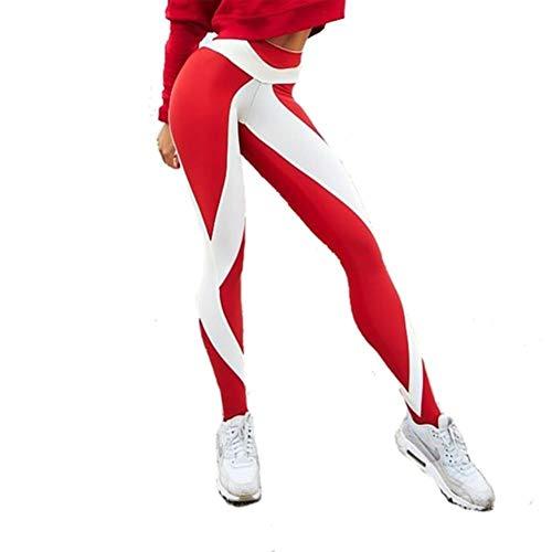 UKKD Leggings Polainas Las Mujeres Pantalones De Cota Alta Educación Polainas Impresas Pantalones Casuales Del Punk Aptitud De Las Mujeres Elástico Delgado,Rojo Blanco,Xs