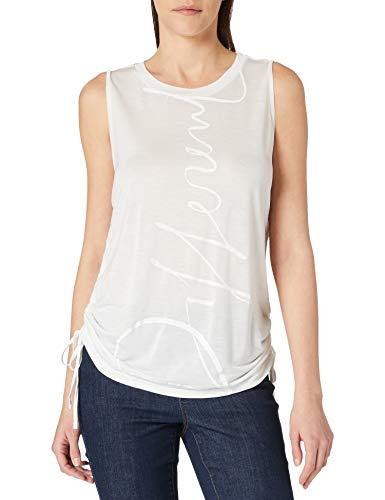 Desigual Tank Drawstring Sides Camiseta, Blanco, L para Mujer