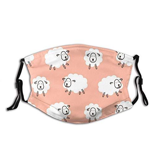 135 Good Baby Sheep Wear M-A-S-K Impresión Cara M-A-S-K con 2 Filtro Regalo para Adulto   Adolescentes Anti Polvo Boca Pasamontañas, Oveja bebé niña lindo animal rosa, Talla única