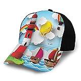 JONINOT Sombrero Deportivo Gorra Ligera y Suave para Correr Costa para niños con veleros Sol Arco Iris Globo aerostático Nubes Sala de Juegos Dibujos Animados