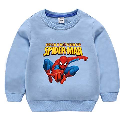 MODRYER Los Niños Los Niños Spiderman con Capucha del Niño de Puente de Cuello Redondo de Manga Larga Camiseta de Algodón Pullover Ropa Edad 3 4 5 6 7 8 Años,Blue C-Large/110c