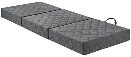Traumnacht Luxe gastenmatras met hoogwaardige visco-oplegger en moderne matras met hoes, 75 x 195 cm, lichtgrijs