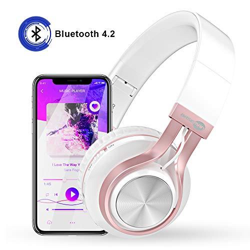 Baseman Wireless Bluetooth Headphones with Mic, On Ear Lightweight Foldable Wired Headphones, Hi-Fi Stereo Earphones Deep Bass Over Ear Headphone for Music Computer Laptop TV PC Kids(Pink White) 3