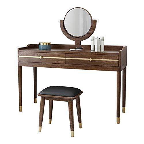 ZXN RTU - Juego de tocador resistente y duradero con espejo redondo, tocador con 2 cajones deslizantes, mesa de maquillaje de madera maciza y taburete acolchado