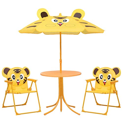 Juego con mesa de picnic y sombrilla para niños, juego de bistrot plegable para niños de exterior, amarillo