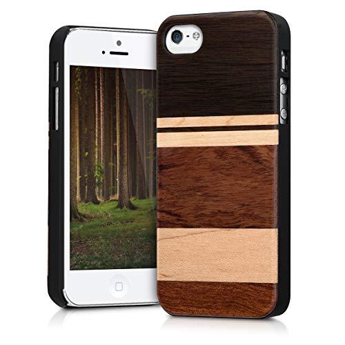 kwmobile Cover legno compatibile con Apple iPhone SE / 5 / 5S - Custodia in legno di narra naturale - Case rigida Backcover protettiva