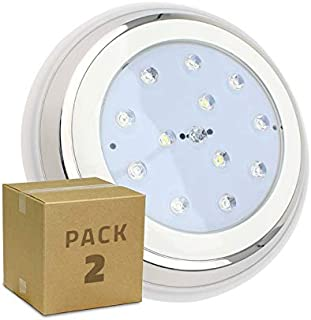 LEDKIA LIGHTING Pack Foco Piscina LED Inox Superficie 24W (2 un) Blanco Cálido 3000K