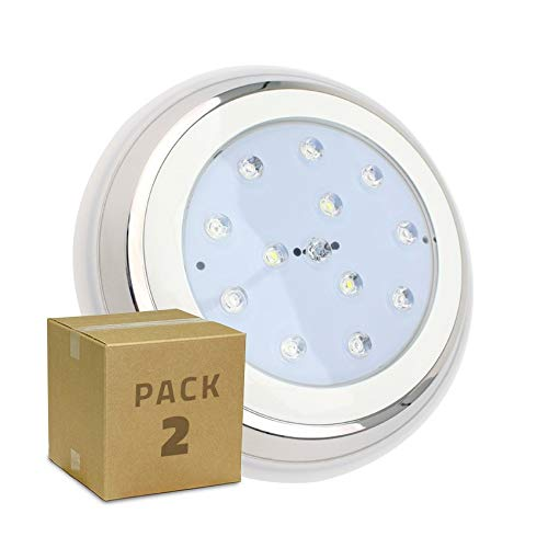 LEDKIA LIGHTING Pack Foco Piscina LED Inox Superficie 24W (2
