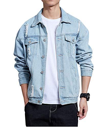 Unisex Ripped Jeansjacke Biker Style Jeans Denim Jacke Vintage Distressed Jacket Hellblau L