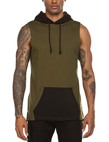 Coofandy Mens Summer Hipster Hip Hop Sleeveless Lace-up Hooded T-shirts with Pockets, Army Green, Small